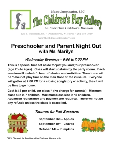 Preschooler and Parent Night Out Information Fall 2015